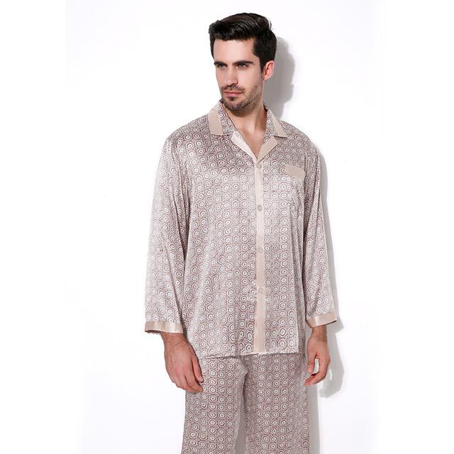 Masculina de lujo ropa de Dormir de Manga Larga de Seda 100% Hombres Pantalones de Otoño de Los Hombres de Seda Pijamas Pijamas Pijama Conjunto CMR11OO7