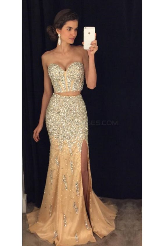 New Arrival Two Pieces   Prom     Dresses   2019 Crystal Beaded Tulle Evening Gown Sexy High Slit Women Party Gown