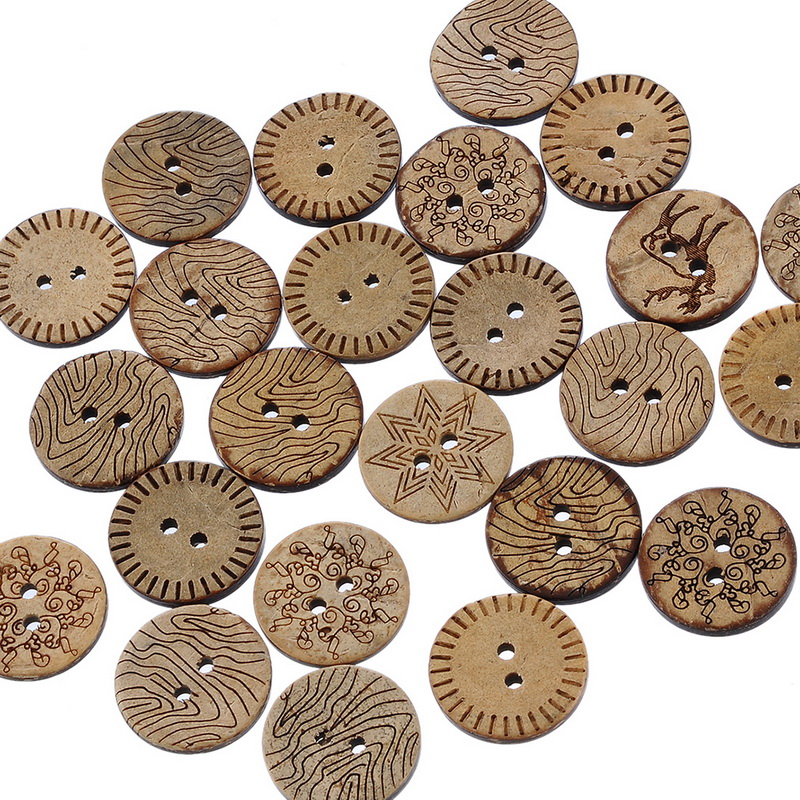 Urijk 100pcs Mixed Pattern Coconut Shell 2 Holes Sewing Buttons