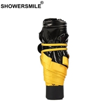 цены на SHOWERSMILE Yellow Umbrella Pocket Black Coating Uv Protection Lightweight Parasol Small Travel Folding Mini Parapluie Paraguas  в интернет-магазинах