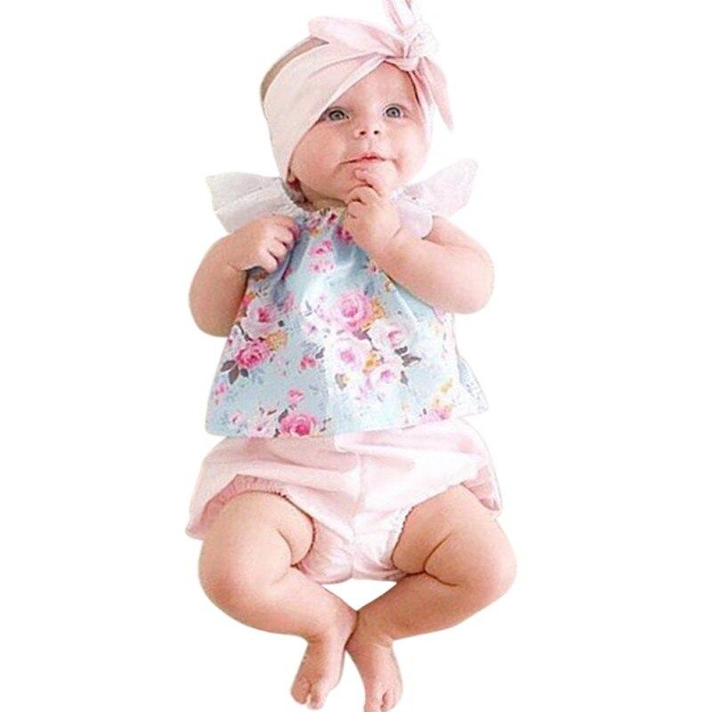 Newborn Baby Floral Lace Sleeveless Tops + Shorts Outfits Kids Girls Clothes Set 2PCS newborn baby girls clothes set off shoulder girl costume blue sleeveless denim tops ruffle shorts outfits summer clothing 2pcs