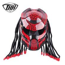 Красный сплетни Хищник углеродное волокно мото rcycle шлем Железный полный лицо Мото шлем точка сертификация высокое качество