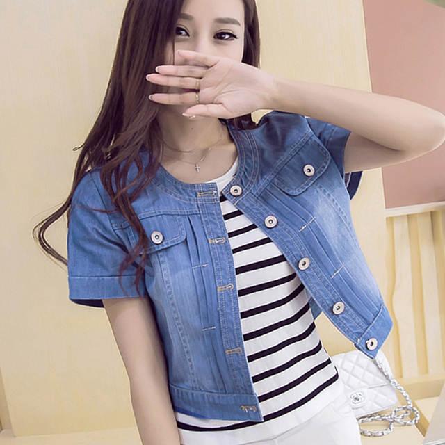 421a2b6dae5 placeholder 2019 Summer Short Denim Jackets Casual Basic Coat Ladies Blue  Vintage Jeans Jacket Women Slim Outwear