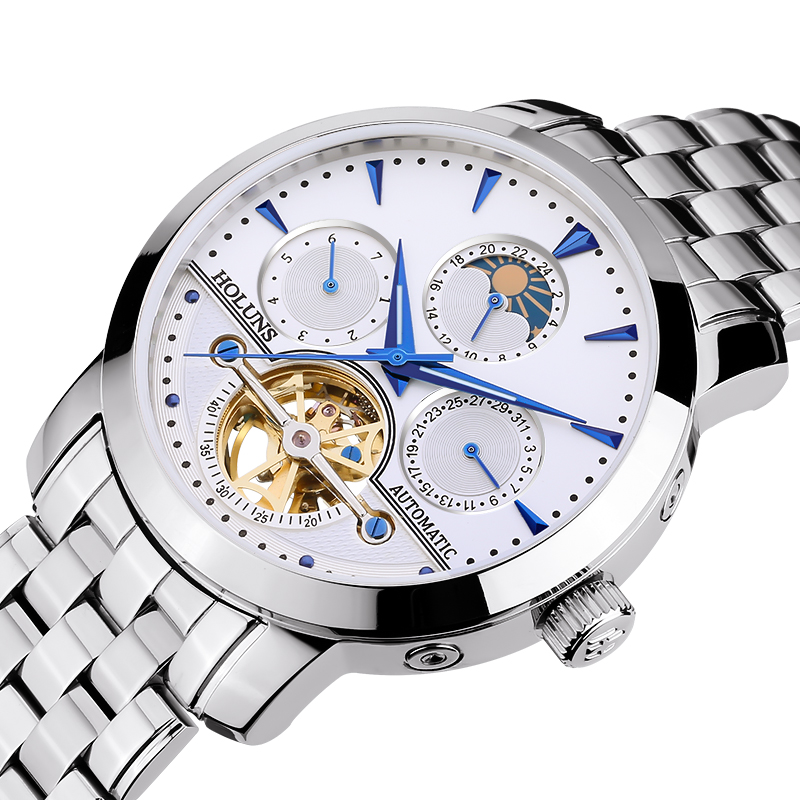 Luxury HOLUNS watch men Moon Phase sapphire waterproof date silver stainless steel Automatic machine watch relogio masculine стоимость