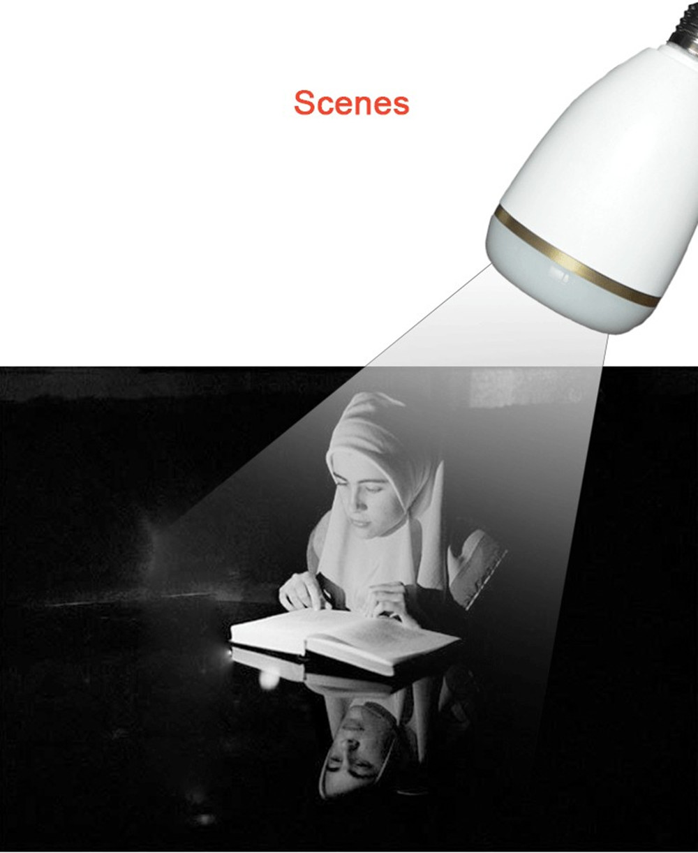 Wireless Bluetooth RGB LED Light Bulb Quran Speaker Remote APP Control Touch Lamp Muslim FM TF Audio Music Player 25 Languages (5)