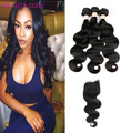 8A Grade Peruvian Virgin Hair With Closure 3 Bundles Peerless Peruvian Body Wave With Closure 8-28inch Human Hair With Closure
