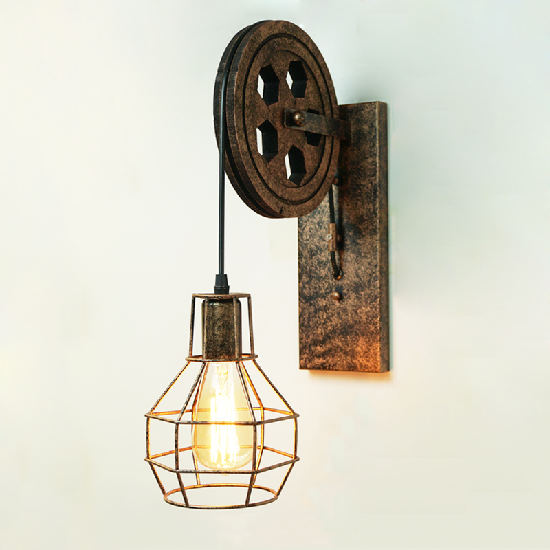 Loft industrial retro wall lamp creative lifting pulley wall light personalized dining room restaurant corridor cafe wall lamp box clutch purse