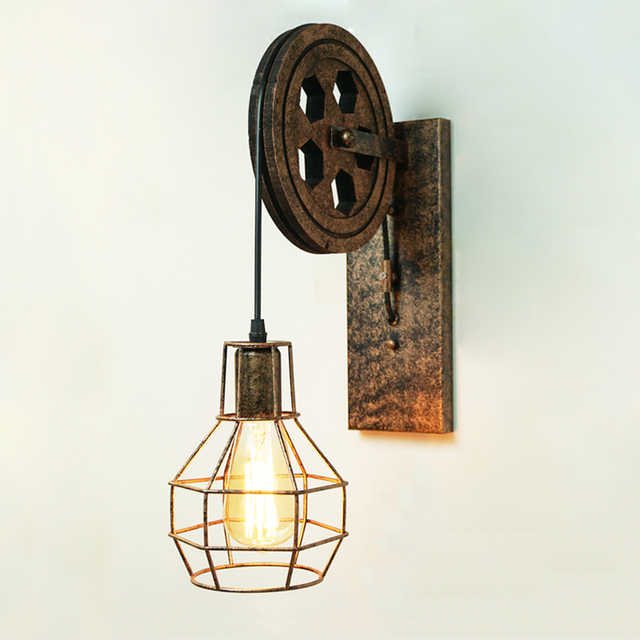 CE retro Loft light Pendant Suspension Light lifting pulley wall lamp restaurant aisle pub cafe light bra sconce Lantern fixture