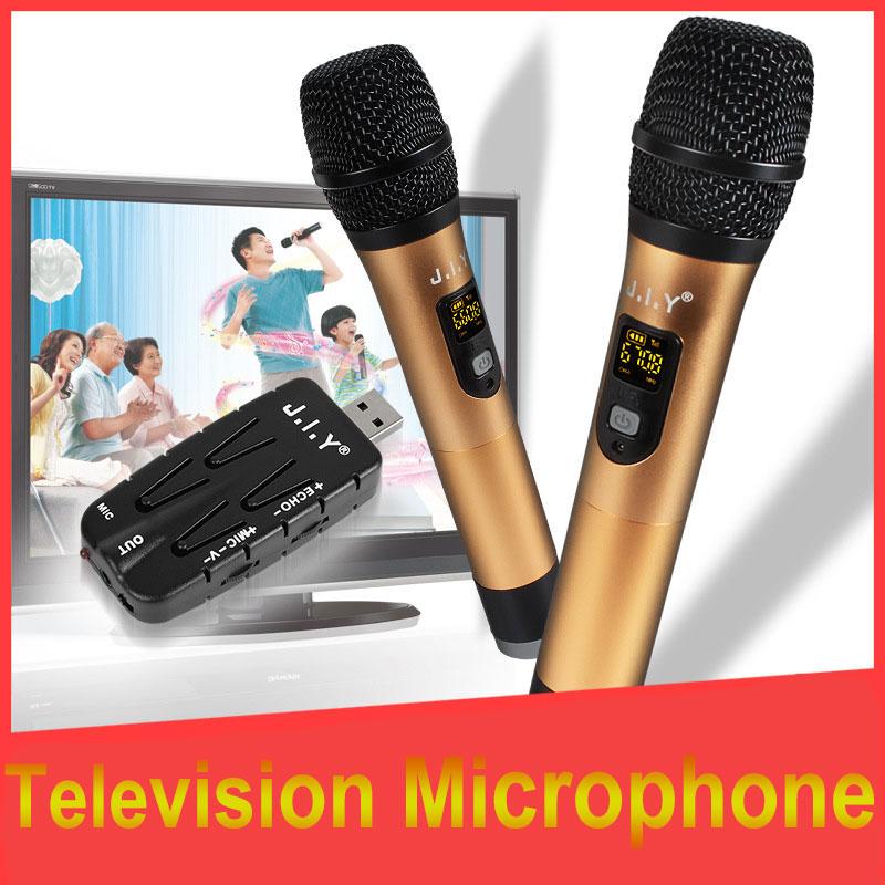 JIY Metal USB Double Wireless Microphone Professional mixer audio home USB Microphones for DJ karaoke computer