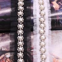 Savica 11y/lot Pearl Beaded Mesh Lace Trim Fabric Ribbon DIY Collar Sewing Crafts Garment Ruffle Lace Decor Materials LX620