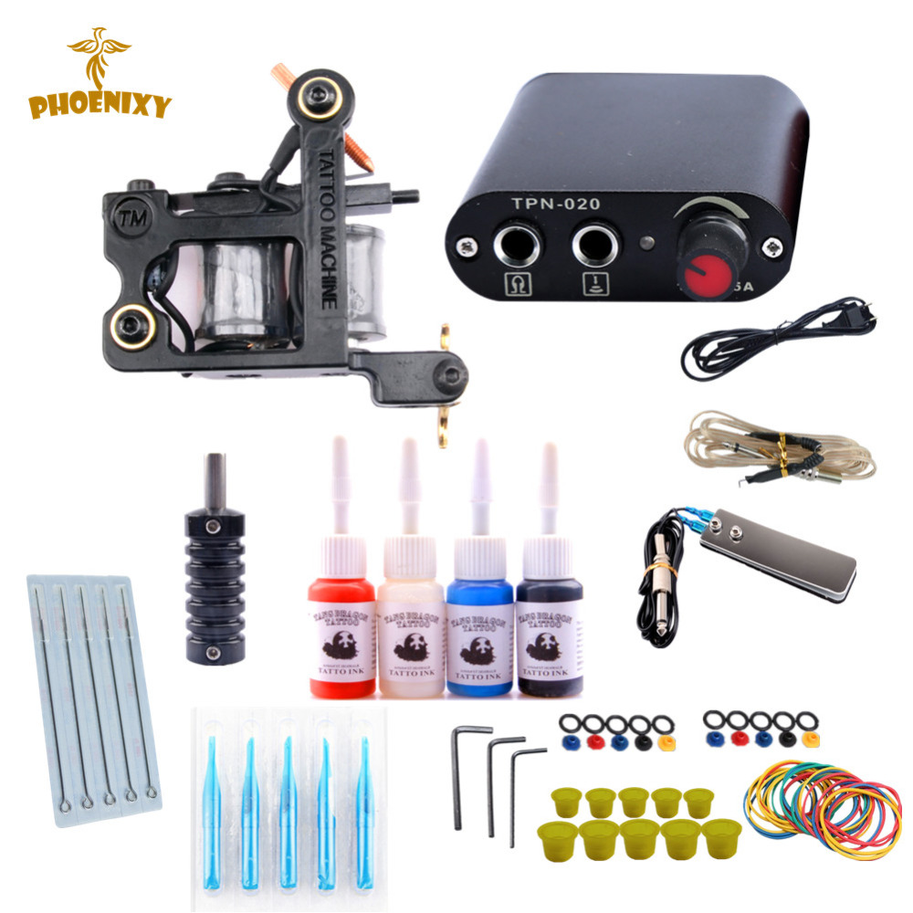 Starter Tattoo Kits Complete Beginner Tattoo Machine Set Lining Shading Tattoo 4 Inks Needles Tattoo Power SupplyStarter Tattoo Kits Complete Beginner Tattoo Machine Set Lining Shading Tattoo 4 Inks Needles Tattoo Power Supply