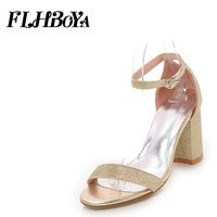 women 2018 summer High square heels Sandals Shoe Woman Gold Buckle ankle strap chunky Block heels open toe sandals Ladies pumps