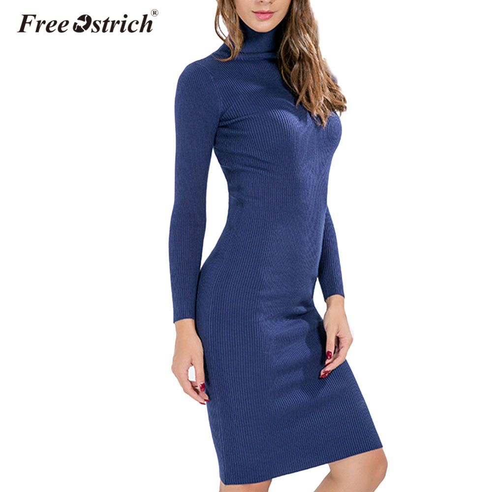 Free Ostrich Sweater Dress Turtleneck Knitted Winter Dress Women Office Sexy Black Red Blue Ribbed Midi Bodycon Robe Femme D30
