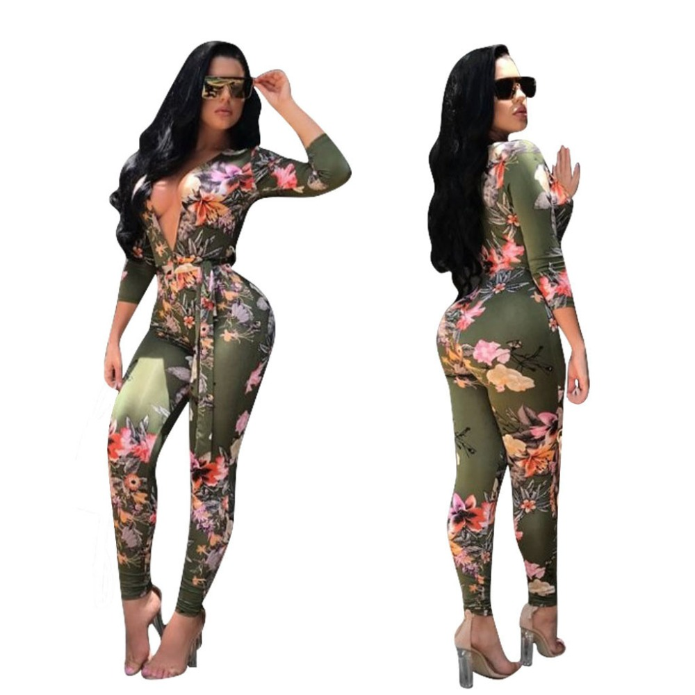 Deep V Neck Sashes Long Pant Rompers Autumn Women Full Sleeve Floral Print One Piece Skinny Jumpsuit Plus Size Macacao Feminino