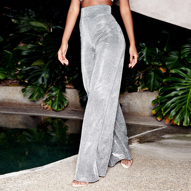 FQLWL Glitter Sexy   Wide     Leg     Pants   Woman Trousers Stretch Flare High Waist Loose   Pants   Female Winter Casual Bell Bottom   Pants