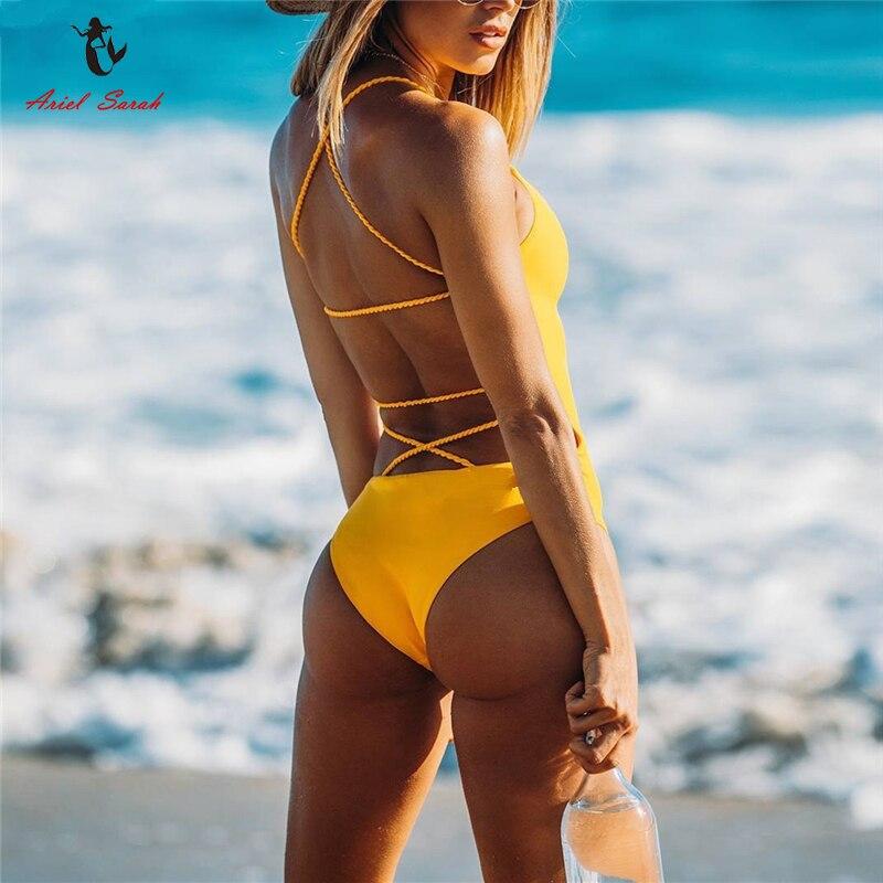 Ariel Sarah 2018 Bandage Badeanzug Solide Frauen Bademode Halter Badeanzug Frauen Maillot De Bain Sexy Beachwear Q355