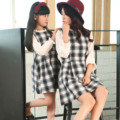 New autumn/Winter family style dress Patchwork Plaid dresses long-sleeve woolen dress for women and daughter family style clothe