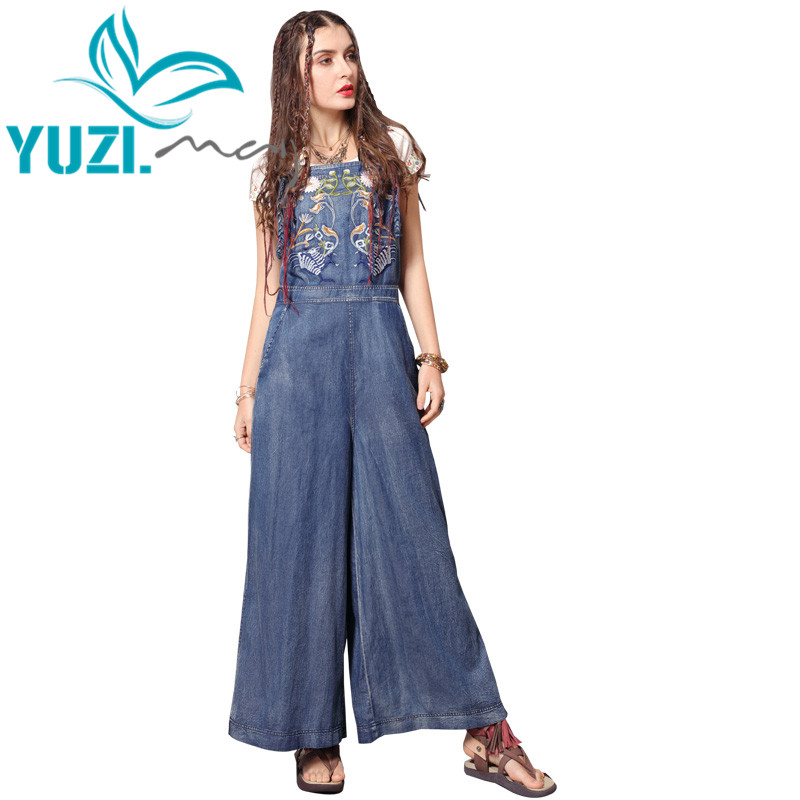 Jumpsuit Women 2019 Yuzi may Boho New Women Bodysuit Denim Vintage Embroidery Wide Leg Jumpsuits DZ306