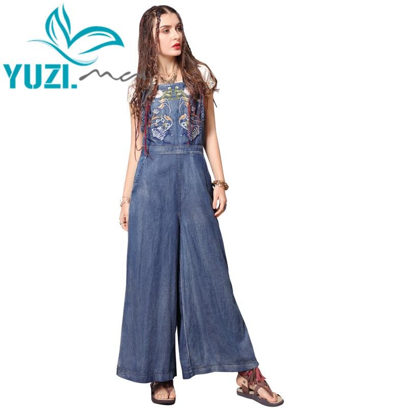 Jumpsuit Women 2019 Yuzi.may Boho New Women Bodysuit Denim Vintage Embroidery Wide Leg Jumpsuits DZ306 Bodysuits