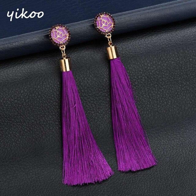 Rose Flower Long Tassel Earrings Bohemian Crystal Silk Fabric Drop Dangle Earrings For Women Jewelry Black Green Blue Red Pink