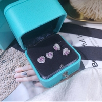 Wholesale Fashion Jewelry Sterling Silver CZ Pink Heart Shaped Stud Earrings for Women Lovely Studs For Lady High Quality