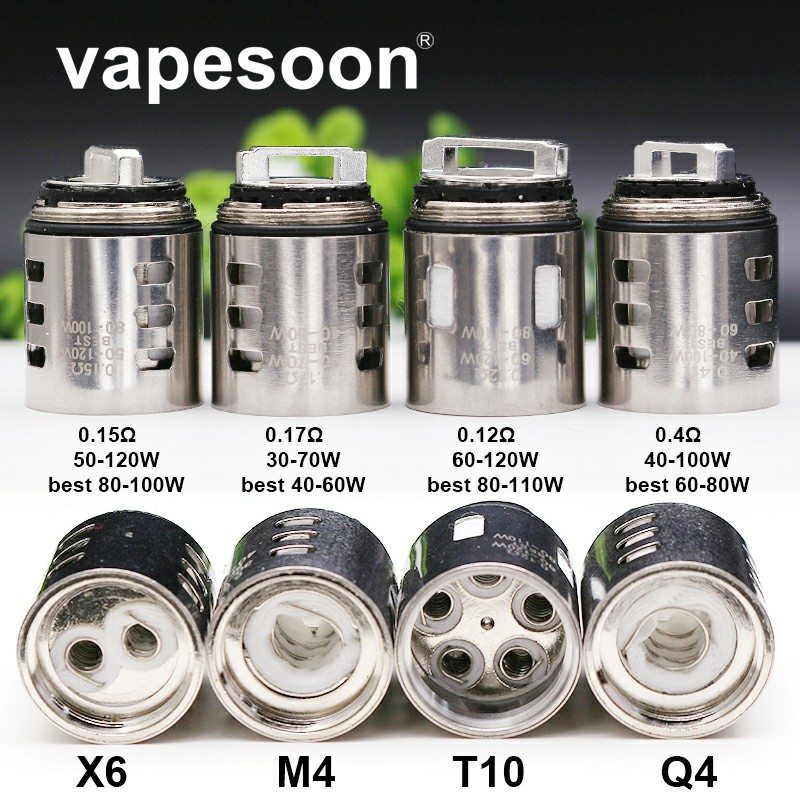 15pcs Authentic vapesoon V12 Prince M4 Q4 X6 T10 Replacement Coil Head Atomizer Core for SMOK