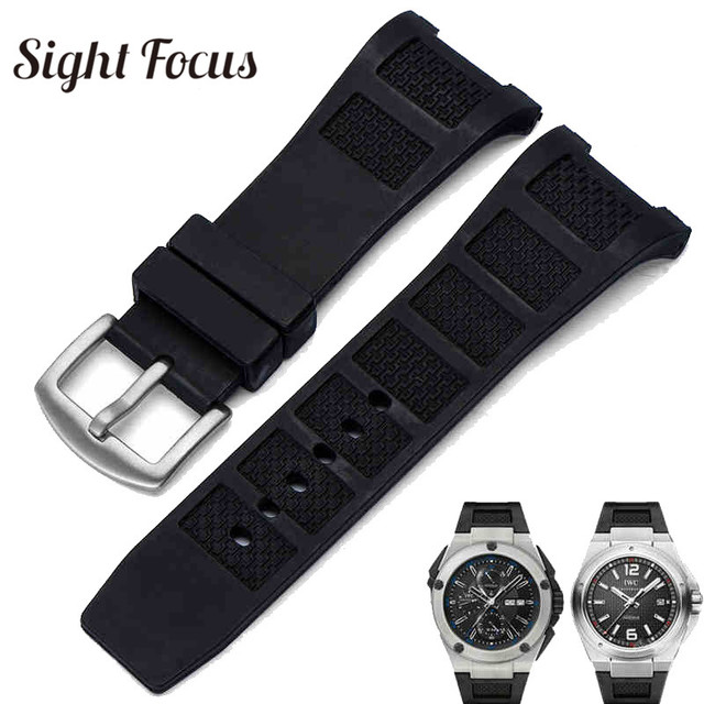 fe455ddc376 Notch End Silicone Rubber Watch Band for IWC Ingenieur Strap for Men 30mm  Black Waterproof Watch