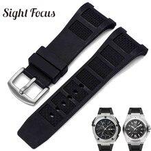 Pulseira de relógio, pulseira de borracha de silicone para iwc engeur, pulseira para homens 30mm, pulseira preta à prova dágua cinto de fivela,