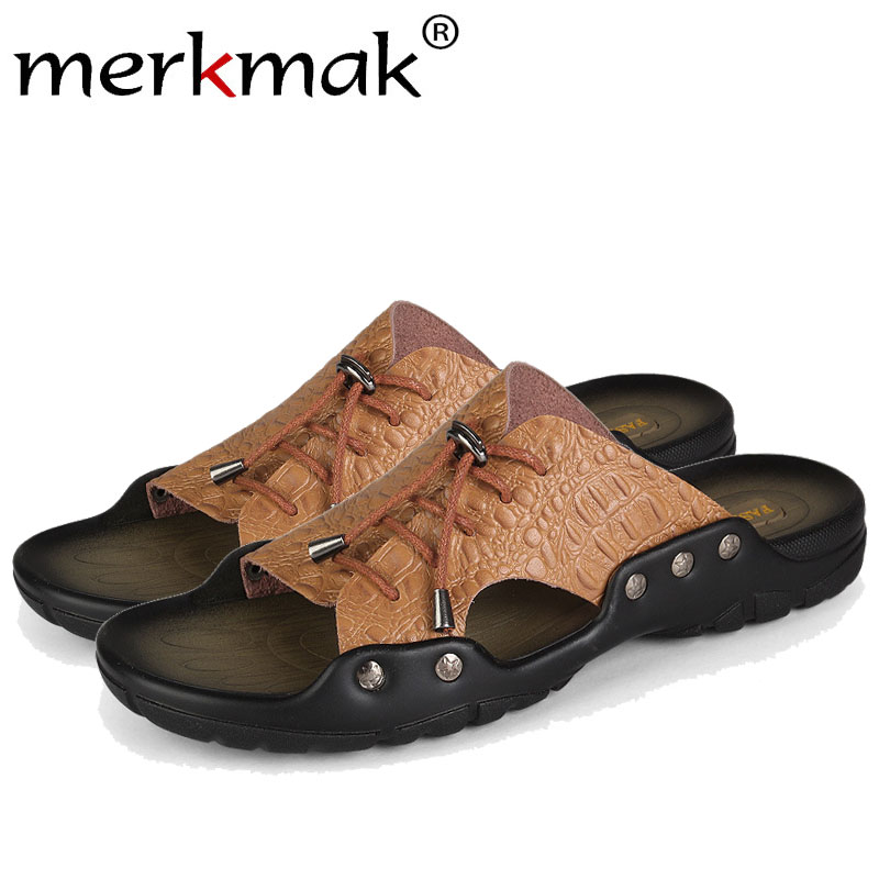 Merkmak Men Beach Sandals Shoes Comforatble Crocodile Leather Flip Flop Casual Outdoor Men Slipper Sandal Big Size37-46 Dropship men slippers genuine leather crocodile designer new 2018 brown blue beach holiday shoes flat slipper for men casual daily sandal