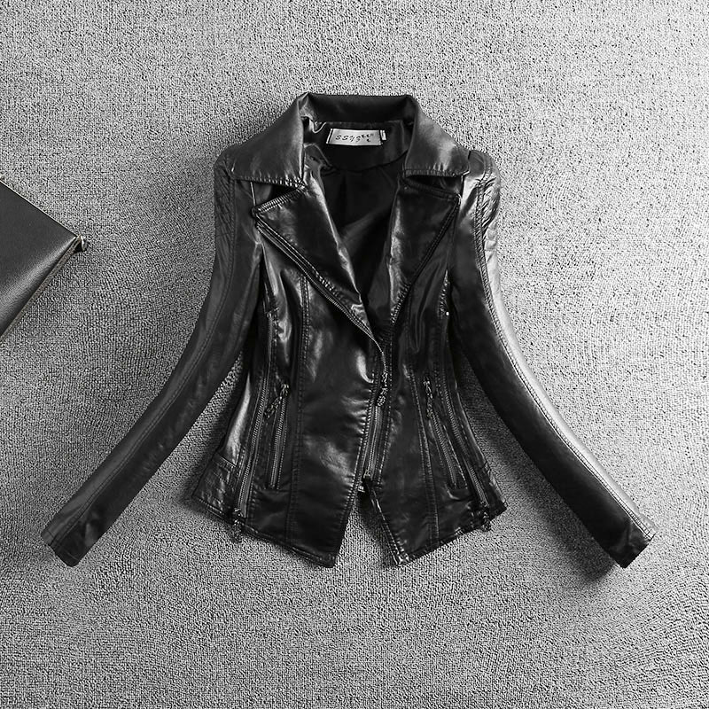 2018 Hot Sale Full 2xl Washed   Leather   Pu Female Turn Down Collar Jacket Slim Locomotive Explosion Models New Ladies Jackets