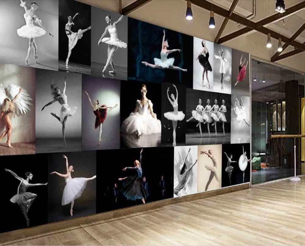 Custom 3d Mural Wallpaper Modern Simple Dance Studio Ballet Yoga Hall Mural Work Background Wall Decoration Painting Aliexpress