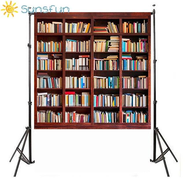 Sunsfun Full Books Bookshelf Scene Photography Backgrounds Vinyl School Photo Backdrops For Photo Studio Customized Backdrops