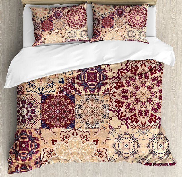 Vintage Duvet Cover Set Antique Traditional Ceramic Tiles Ornamental