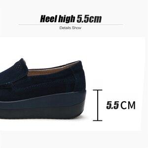 Image 5 - 2019 סתיו נשים פלטפורמת סניקרס נעלי עור זמש להחליק על עבה סוליות נעלי אוקספורד נעלי נשים מטפסי מוקסינים נשים 3213