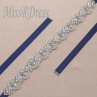 Handmade MissRDress Wedding Cintura Strass Nastro D'argento 42 pollici di Cristallo Abito Da Sposa Cinghie Da Sposa Bridesmaids Dress YS866