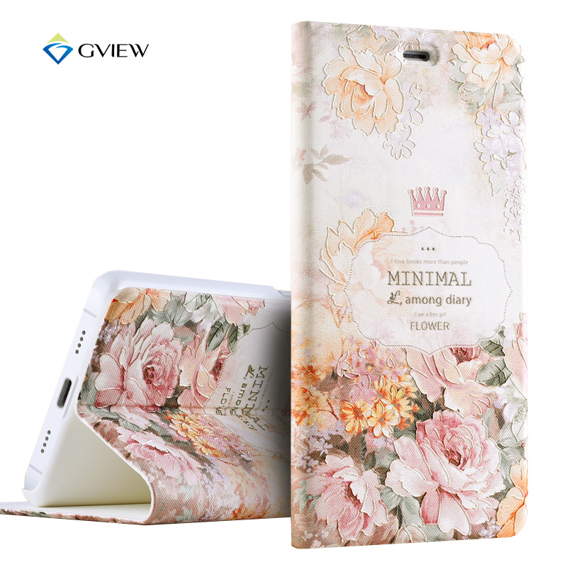 Gview Luxury PU Leather 3D Relief Printing Stereo Feeling Smart Flip Cover Case For Xiaomi Mi5