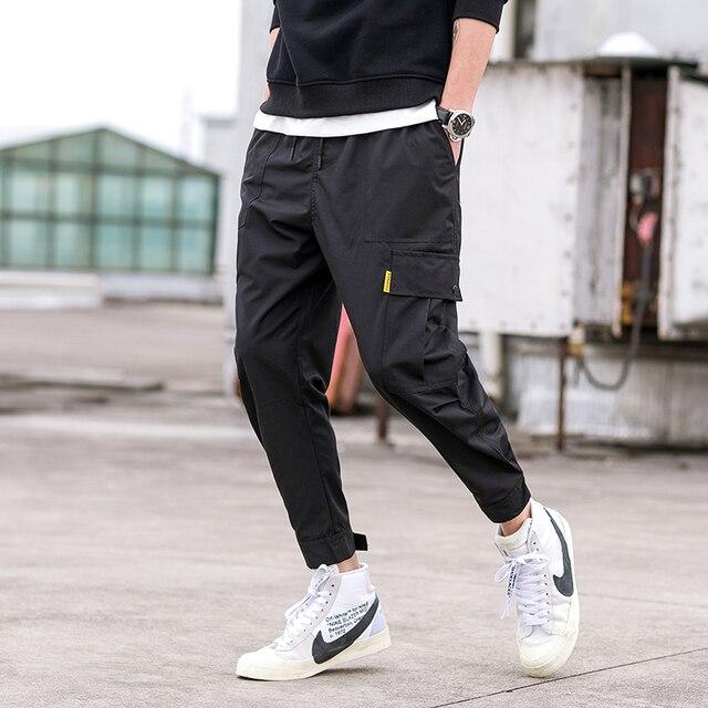 2018 new Japanese men's fashion feet leisure trouser Hip Hop Cargo Pants Streetwear Men Harem Pant Multi Pocket Camouf Trousers 2
