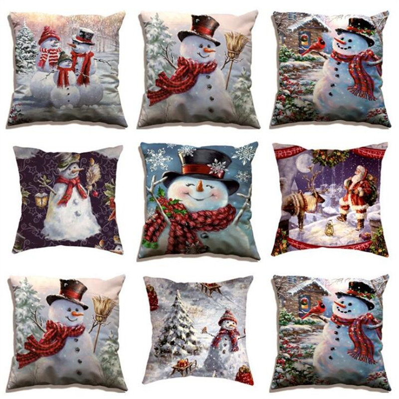 Christmas Pillow Christmas Elk Cushion Pillow Snowman Pillowcase Home Decorative Pillow Home Textile Finished Pillowcase