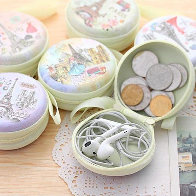 Portable Lovely Round Coin Purse Earphone Key Holder Case Bag Coin Pouch Porte Monnaie Femme Mini Bag Small Purse Monedero