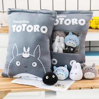 candice guo! super cute plush toy lovely one bag gray Totoro black coal stuffed cushion pocket birthday Christmas gift 1pc