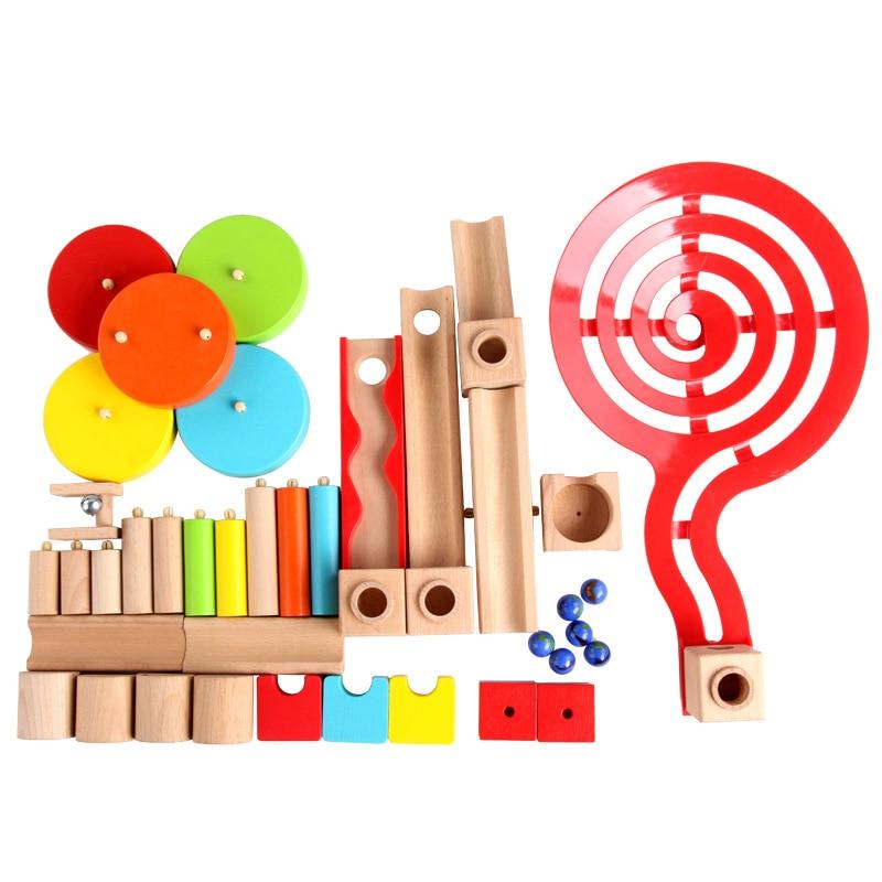 Nouveau rouleau balle jouet Rollercoaster jouets en bois pour enfants blocs de construction Montessori éducatif 3D glisser piste garçon/fille cadeau