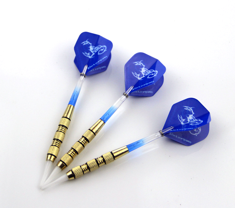 3pcs Safe 17g Transparent Blue Plastic Tip and Shaft Darts with Blue Scorpion Dart Flight for Electronic Dart Target
