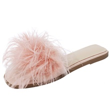 2019 summer women slippers feather decoration comfortable sheepskin insole sandals black pink white female