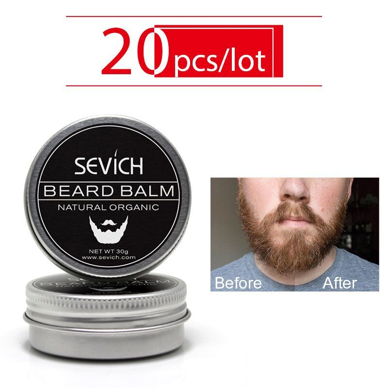 Sevich Men Organic Beard Oil Balm Mustache Wax Styling Beeswax Moisturizing Smoothing Gentlemen Beard Care Natural Beard Balm