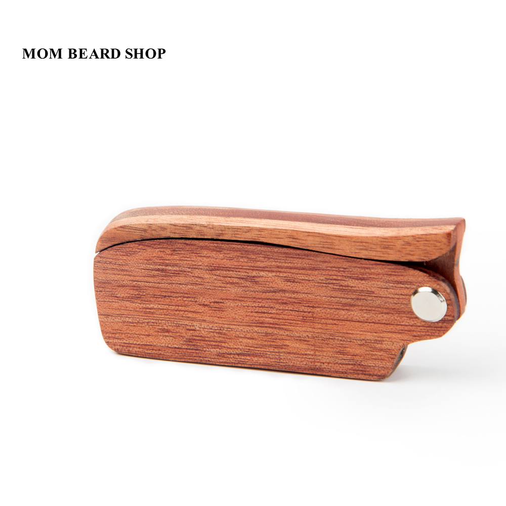Men Folding Beard Comb Wooden Massage Hair Brush Comb Folding For Beard Hair Styling Tool Long Handle Fine Tooth Wood Comb 1PCS 4