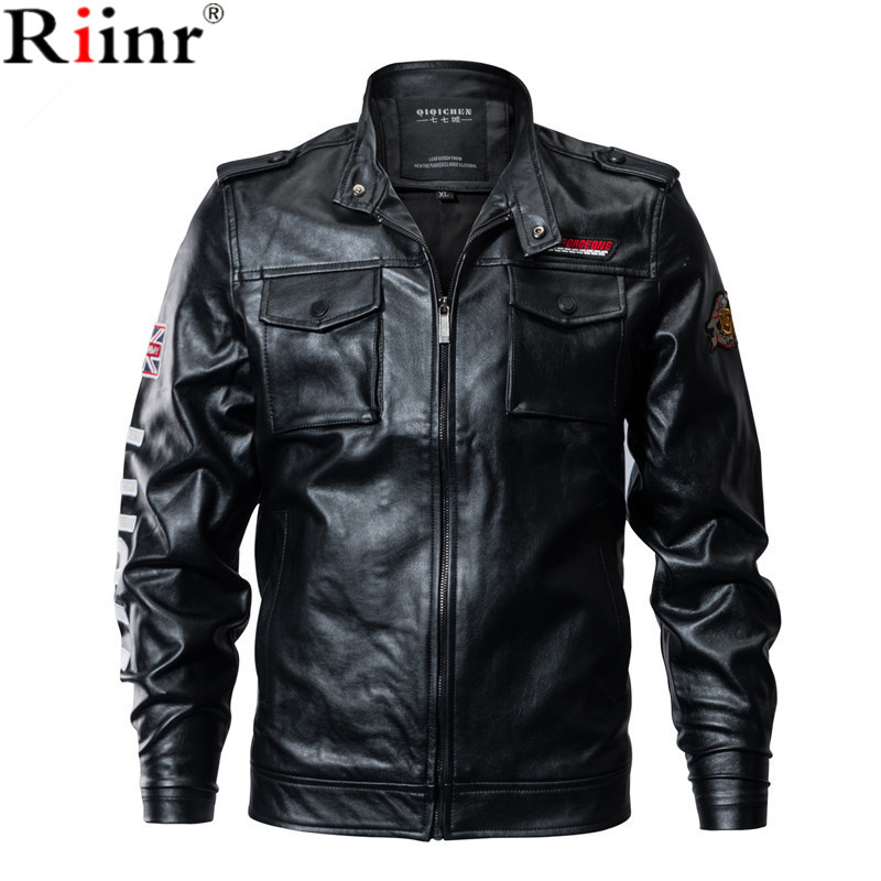 Riinr 2018 Brand New Arrival Mens PU Leather Jackets High Quality Black Spring Autumn Men Outwear Military Leather Jaket Coat
