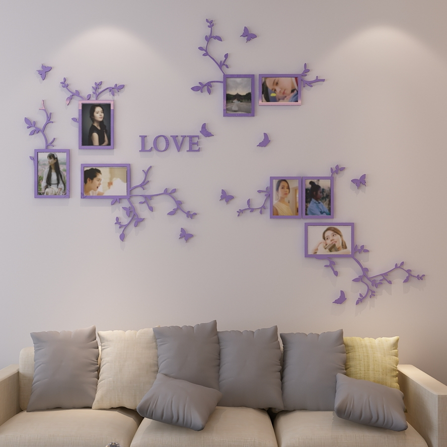 online get cheap crystal wall stickers aliexpress com alibaba group love life photo frame wall 3d acrylic crystal three dimensional wall stickers living room bedroom