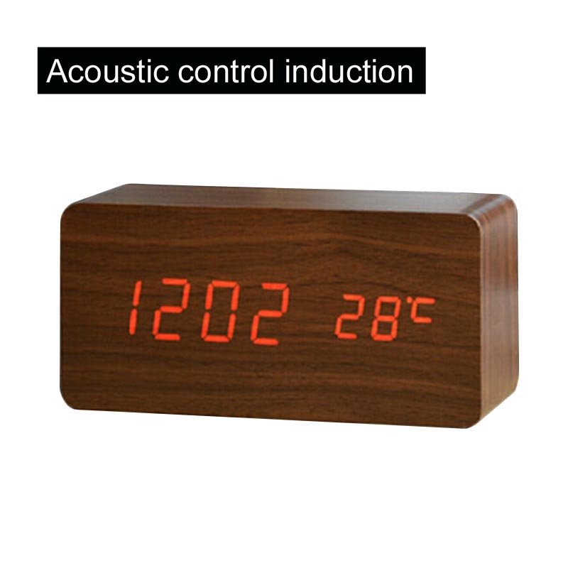En bois De Bureau Horloge Affichage de La Température Sons Contrôle Affichage LED Alarme Horloge De Bureau Électronique Numérique Horloges de Table
