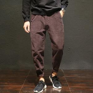 Image 4 - Pantalones de pana informales de talla grande para hombre, pantalones bombachos holgados de algodón, bolsillos laterales grandes, pantalón de Hip Hop