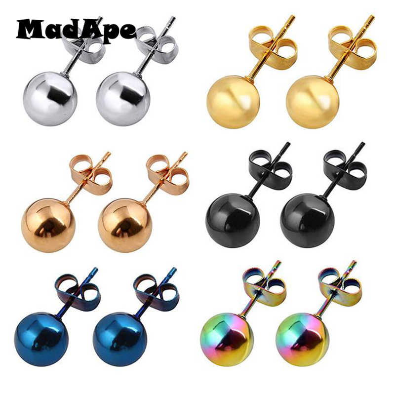 MadApe 2PC Surgical Steel Silver,Black,Gold,Rose Gold Color Ball Stud Earrings Punk Ear Tragus Ear Piercing Fake Taper For Women